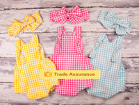 Mom and bab clothes smocked bubble baby gingham romper polka dot outfit