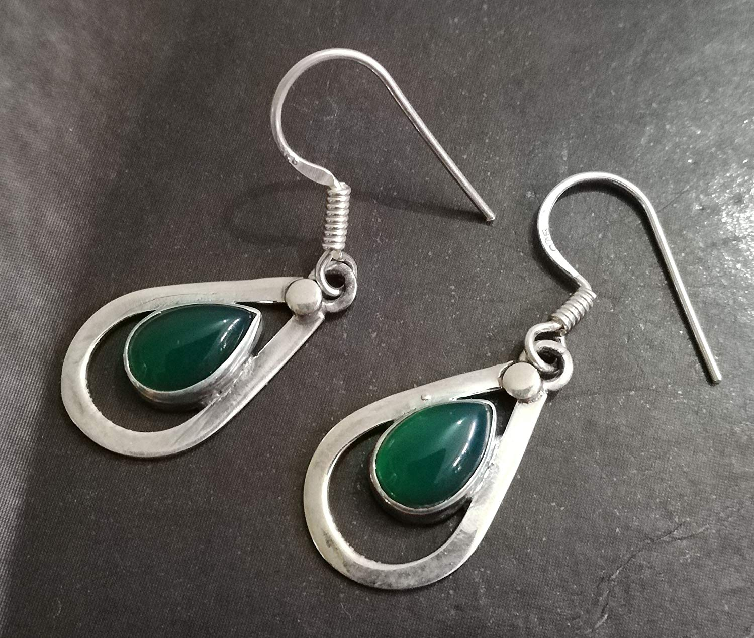 b3a2bcdcc Get Quotations · Green Onyx Earrings, 925 Sterling Silver, 7th Anniversary  Jewelry, August Birthstone, Teardrop