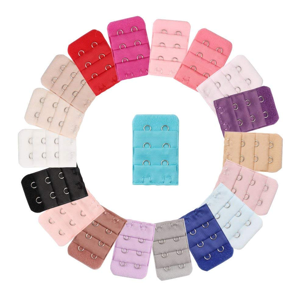 Aprince 20 Pieces Bra Extenders 2 Hooks 3 Rows Bra Strap Extension Spacing Back Bra Extender Strap Hooks for Lady Women Girls Multicolors