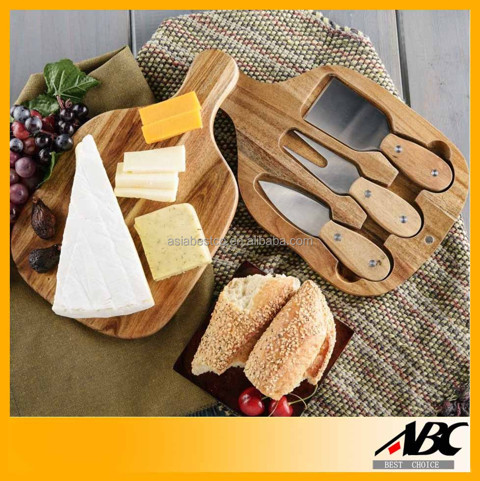100% Natural Wood Chopping Board Cheese Set