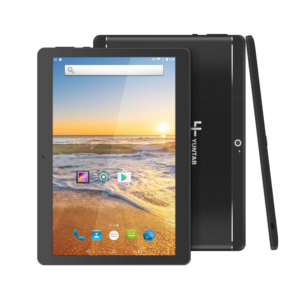 Yuntab 10.1 inch Unlocked 3G Wifi Tablet PC Quad Core Android 5.1 Lollipop MTK 16G Smart Phone 2G 3G Wifi Google Tablet IPS 1280X800 Bluetooth GPS Cellphone (Black)