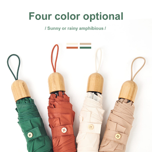 Mini Anti-UV ultralight 5 fold bamboo umbrella
