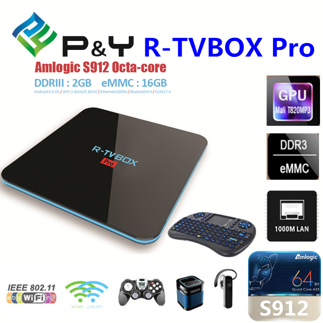 2017 New product R-TVBOX Pro S912 2GB 16GB android tv box 1080p full hd receiver With Good Quality KODI TV BOX