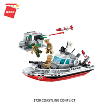 Qman Military patrol boat brick toys Plastic Material and DIY Toy Funny intelligence building blocks