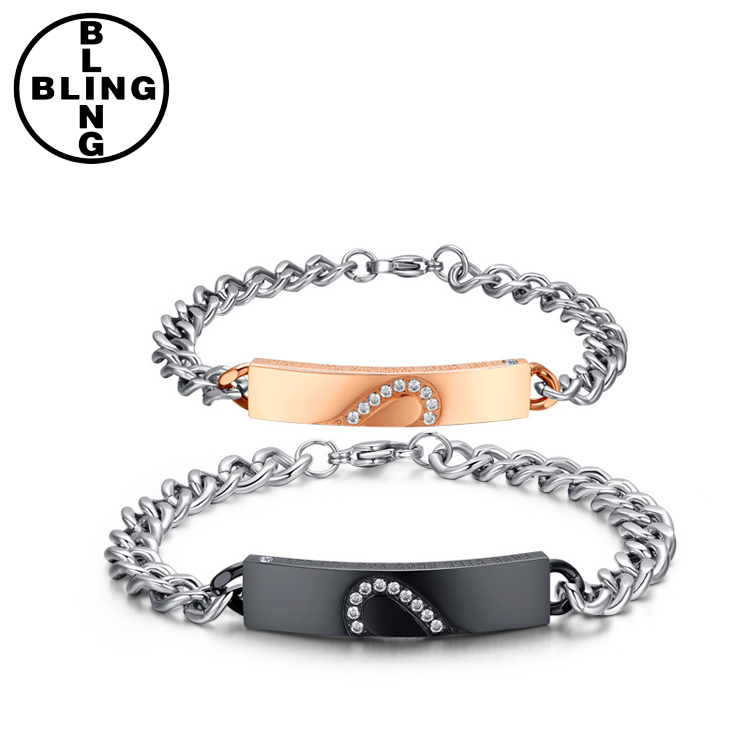 >>>New Fashion Stainless Steel Rose Gold Plated Round Cubbic Zirconia Half Heart Bracelet for Couple