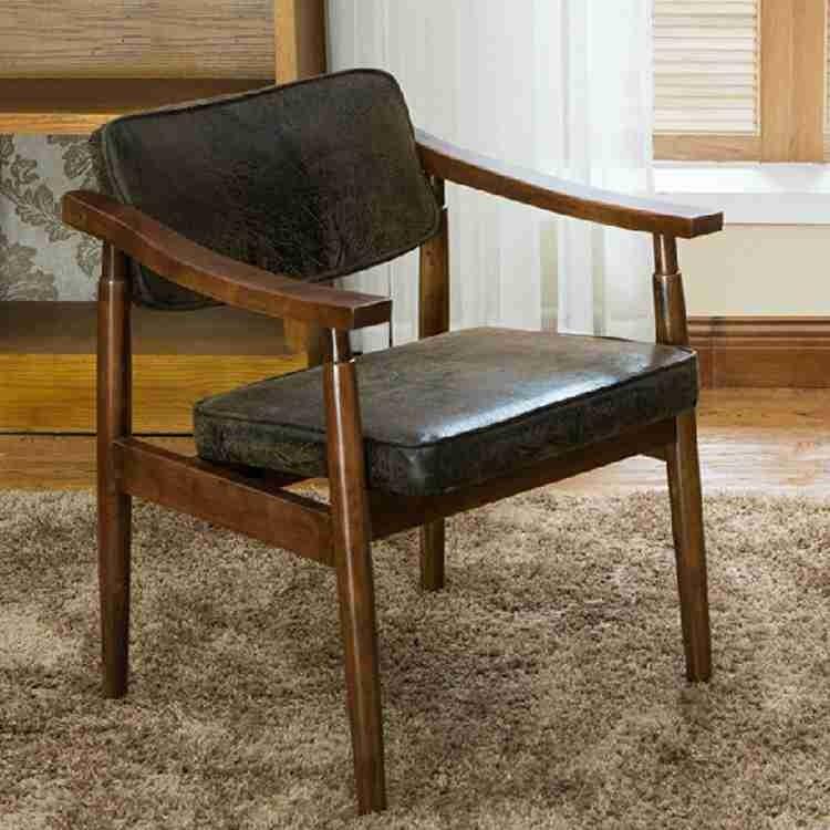 Rembourr s en cuir antique bois fauteuil pour salle - Fauteuil pour salle a manger ...