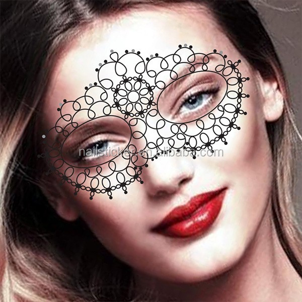 Custom halloween clown temporary rhinestone makeup face for Face tattoo makeup