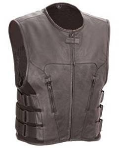 The Nekid Cow Mens Premium Black Leather Motorcycle Swat Team Vest with Interior Armor (Black, 3XL) - Guaranteed - Tactical Outlaw Black Biker Vests for Men - Law Enforcement Style Protective Armor with Side Adjustment Soft Leather Bonus 151 Page Motorcycle & Restoration E-Book Guide Included