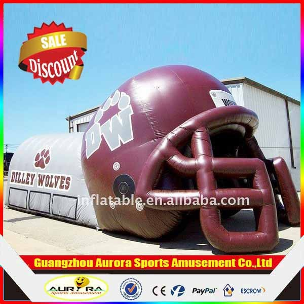 New finished inflatable football helmet tunnel for sports game
