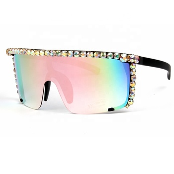 Oversized Sunglasses women Steampunk Mirror pink sunglasses men Red yellow Clear lens Goggle glasses