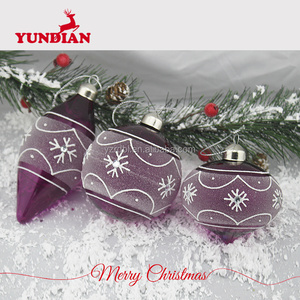 Hot sale christmas ornament purple hanging decorative glass balls