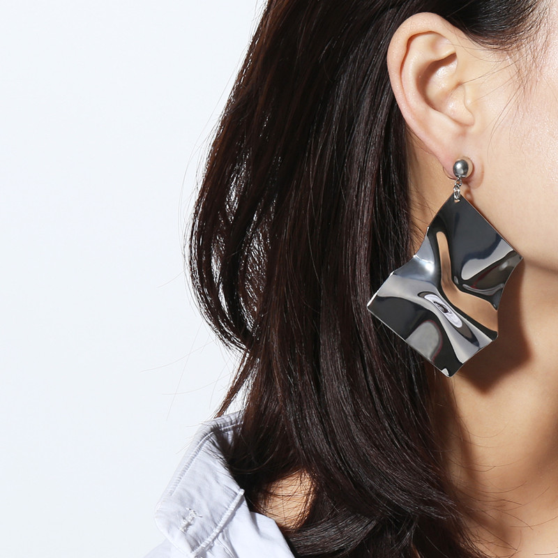 Geometric Irregularity Mirror Surface Ear Decoration Fashion Design Earring