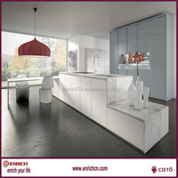 Modern high gloss lacquer kitchen cabinet with white quartz benchtop and Blum hardware