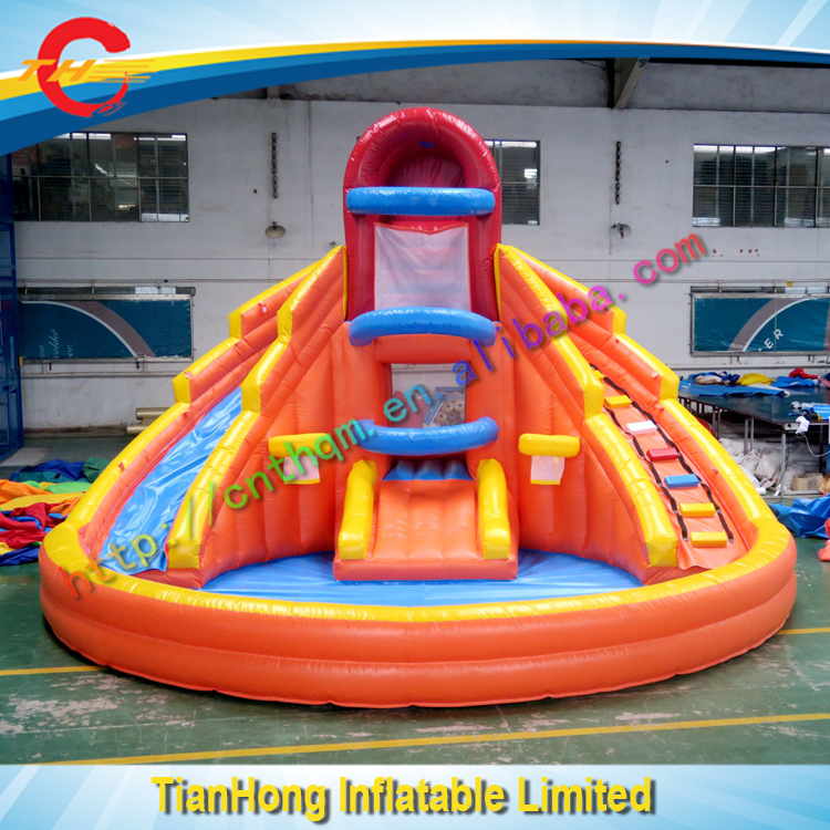 free shipping inflatable water slide with pool