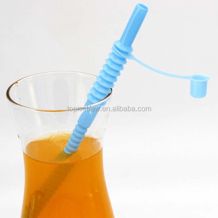 long flexible blue plastic drinking straws with caps