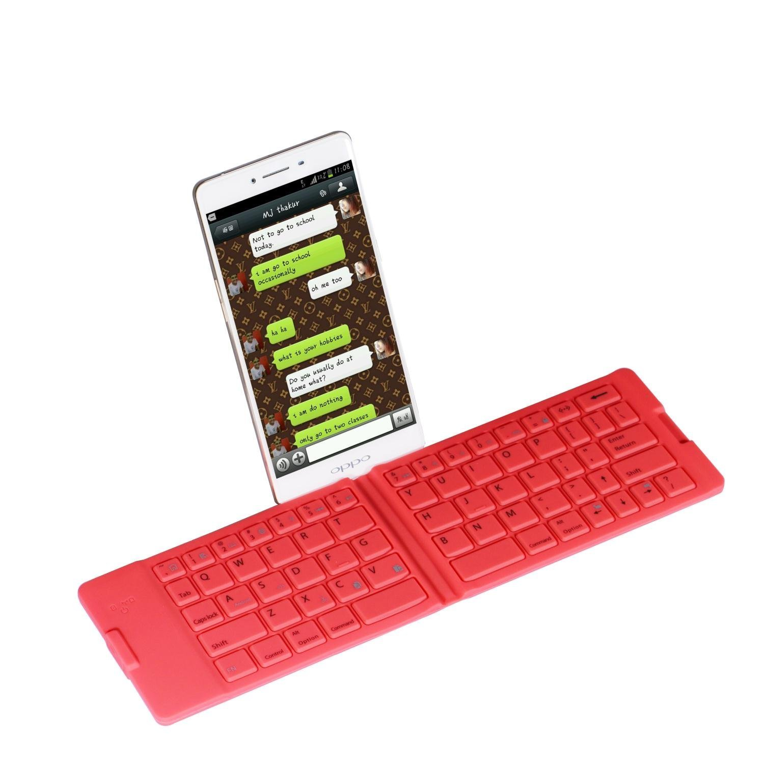 Compatible Android IOS//win10 Mobile Phone Flat Silicone Keyboard Color : Yellow Hexiaoyi Portable Folding Bluetooth Keyboard