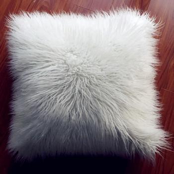 Hot Sale White Anti Fire Faux Fur Sheepskin Pillow Mongolian Faux