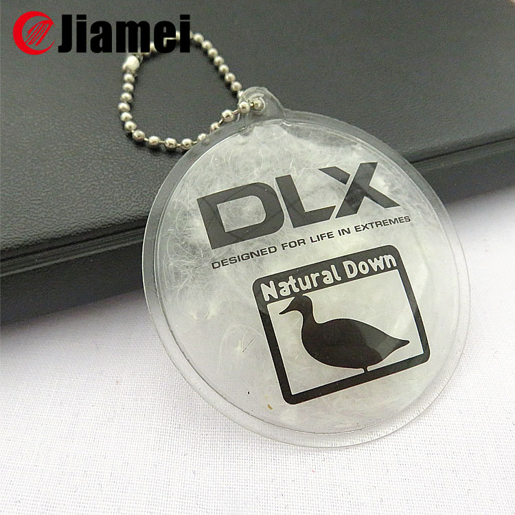 China Manufacture brand logo clothing pvc TPU down feather labels