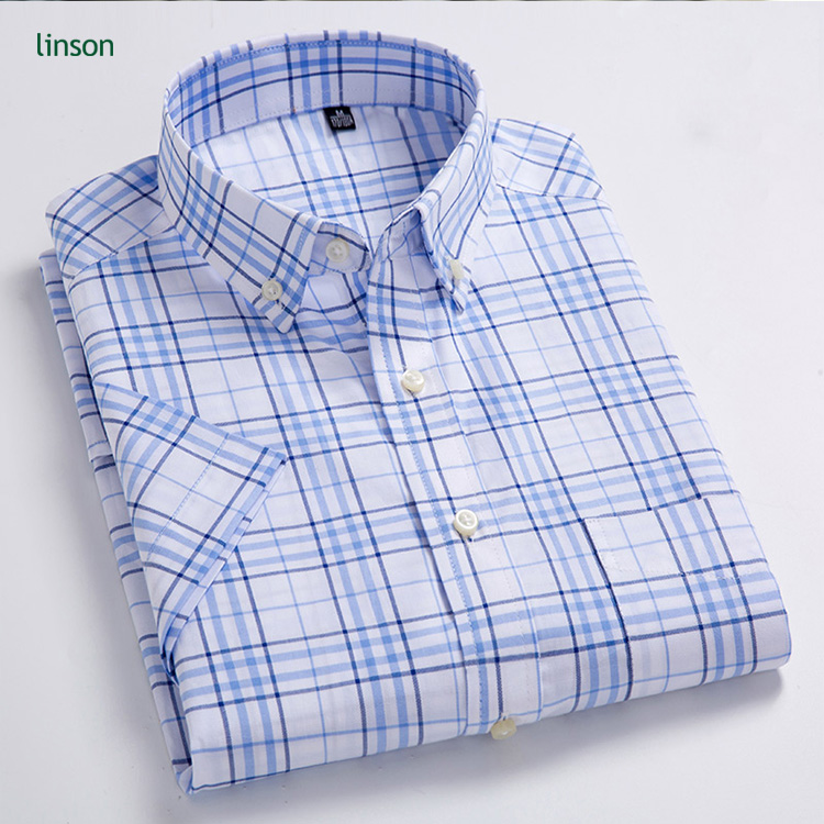 High quality custom cheap price pure cotton plaid short sleeve casual shirt for men