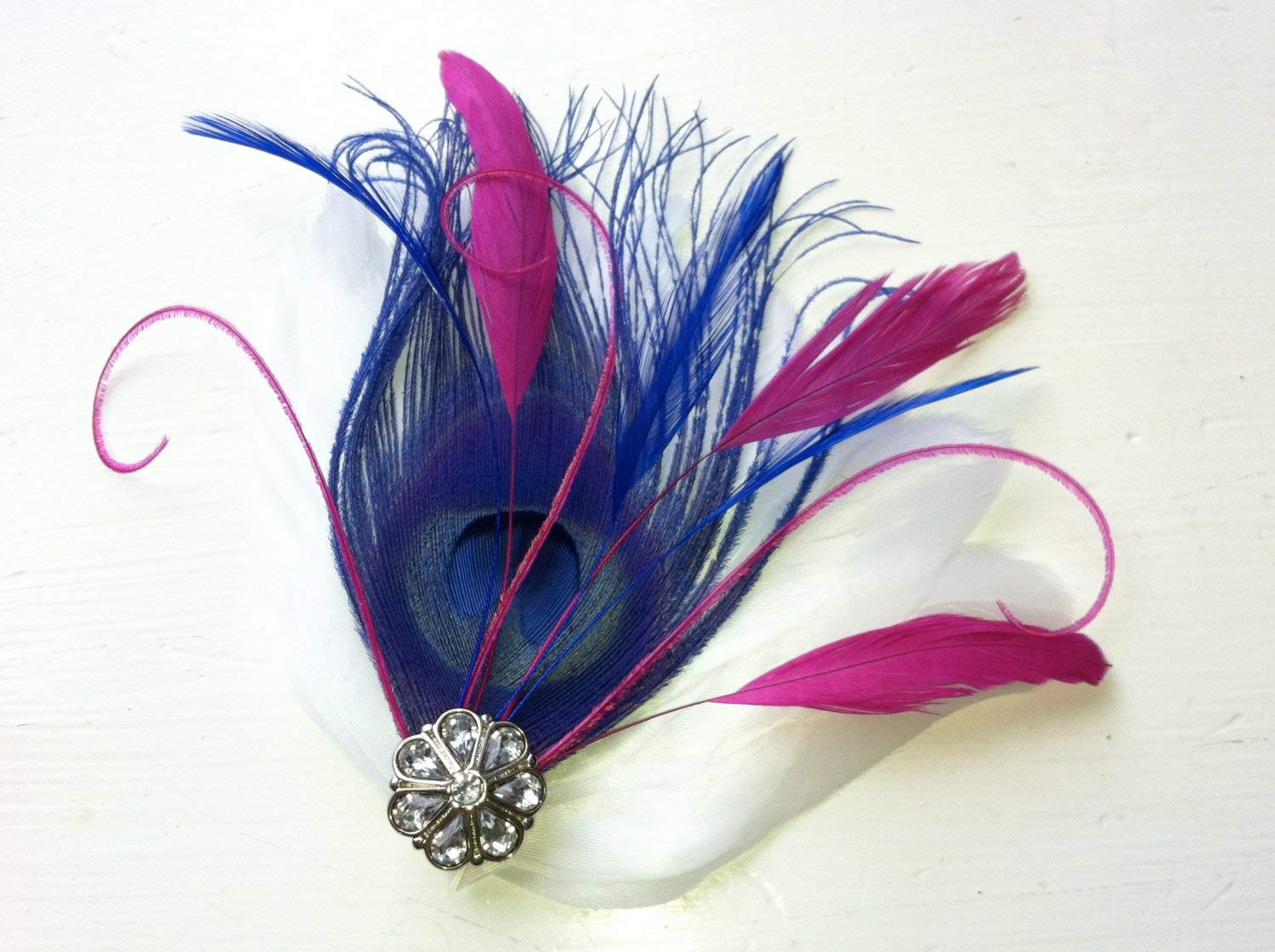Oh Lucy Handmade MARISA Peacock Feather and Crystal Hair Clip, Feather Fascinator, Bridal Hair Piece in Royal Blue, Fuchsia, and White