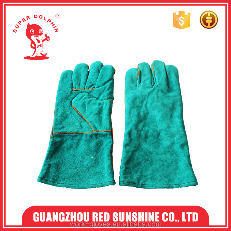 "Green color 14"" welding gloves hand job gloves cow leather gloves"