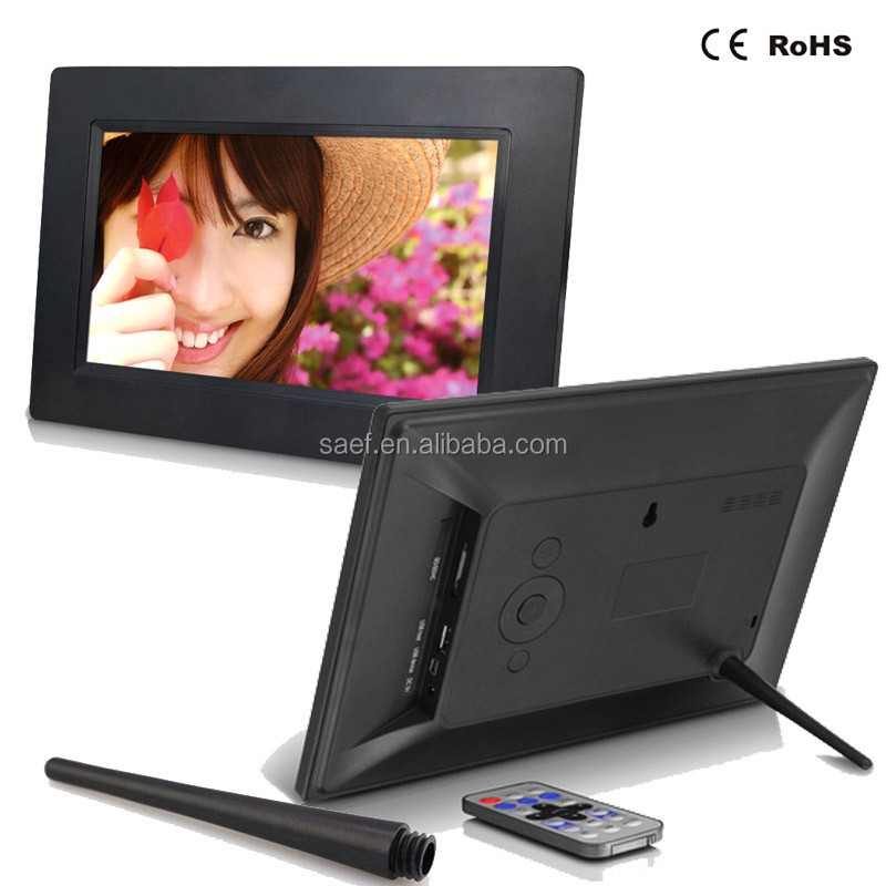 OEM lcd media player 7 inch bingkai foto digital 800*480 dukungan video music picture jam kalender
