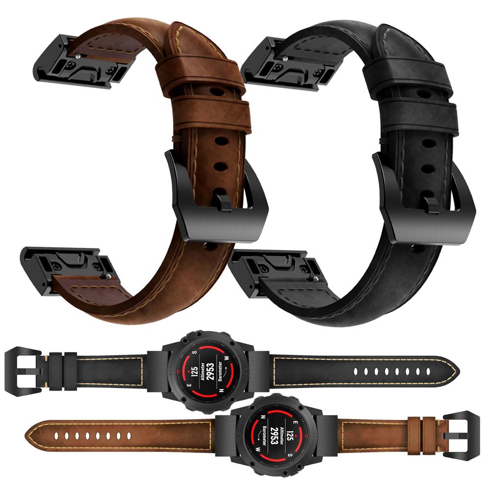 שחרור מהיר אמיתי עור רצועת עבור Garmin Fenix 5 שעון מטורף סוס עור להקות Wristbands