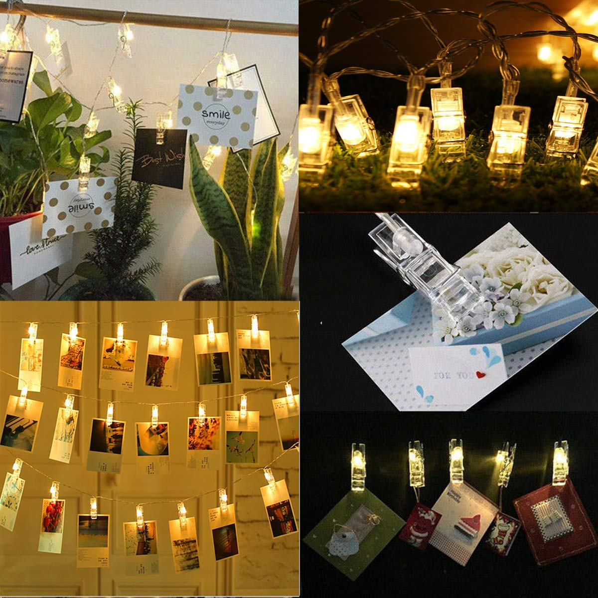 4.2M USB Battery Powered 40LED Photo Picture Peg Clip Fairy String Light Holiday Party Hanging Decor - (Type: Battery Version)