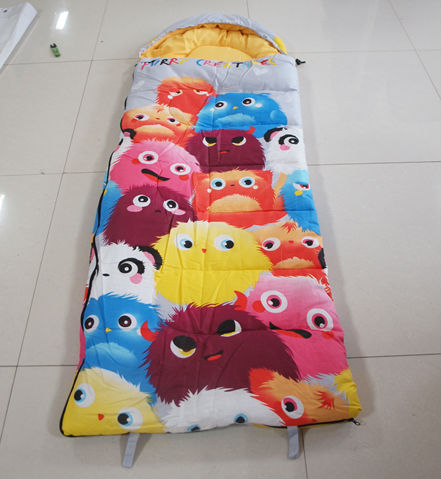 2015 hot sale kids 100% cotton envelope camping sleeping bag outdoor indoor lovely cute cartoon manufacturer