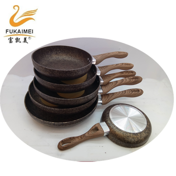 6pcs aluminum golden painting granite non stick fry pan sets 18-28CM fry pan with wooden handle