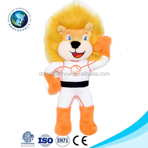 Promotional Cute standing stuffed animal plush lion toy with clothes