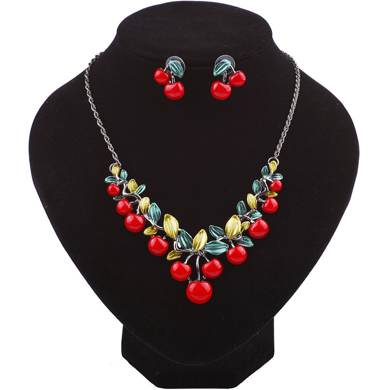 KDA6324 cheap fashion cherry necklace and earrings jewelry set