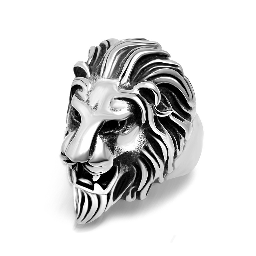 Fashionable Cool style Carving Men's Lion Rings Unique metal alloy Rock Punk Rings for Men Jewelry