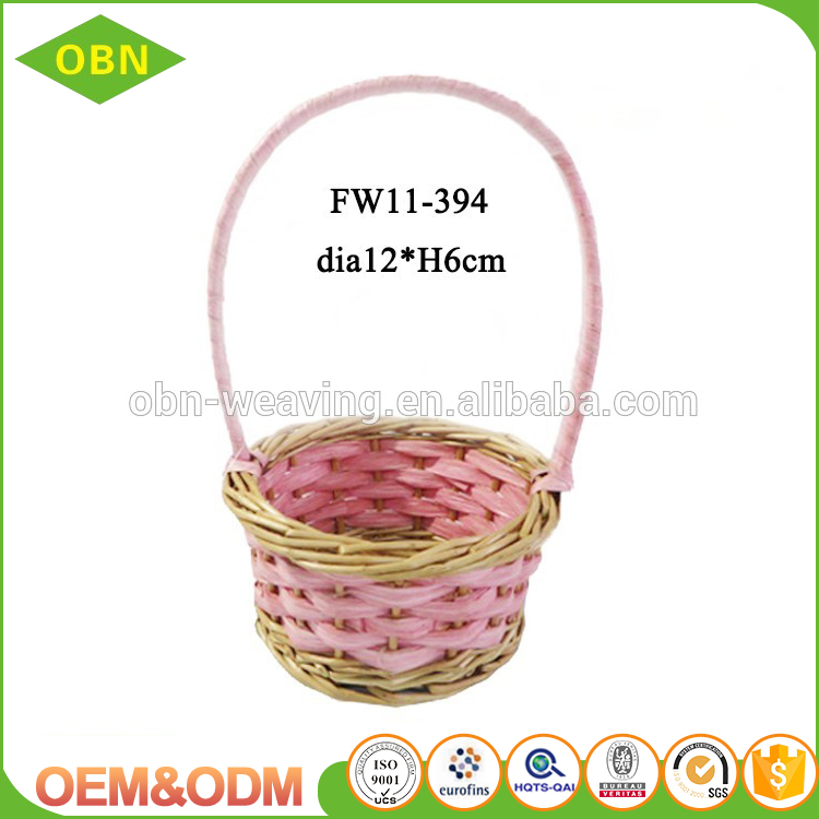 Wholesale colorful hanging wicker easter basket for egg hunt