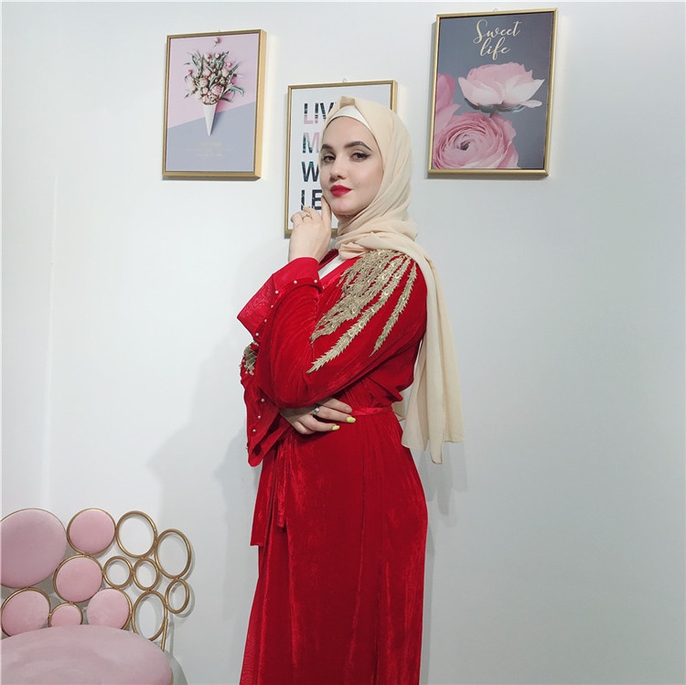 Popular high quality velvet open abaya with pearl fashion style muslim women front open abaya