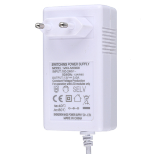 White EU switching power supply 12v 3a power adapter 36w for led strip light with CE GS Certification