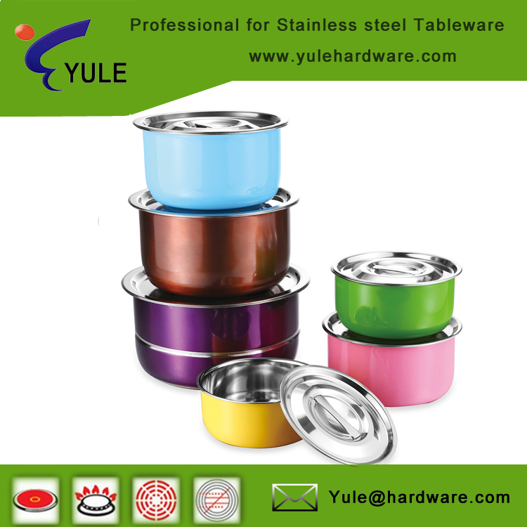 Promotion cooking pot set 6 pcs with lid stainless steel