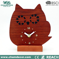 Children Hedgehog shape wooden animal series table clock as toy , wood alarm clock speaker for kid