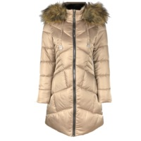 new design ODM OEM factory manufacturing satin faux fur hooded women winter coats, women long down jacket