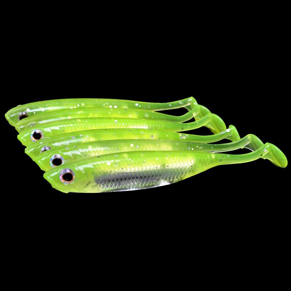 "Dr.Fish Softbait Wiggle Shad Soft Plastic Swimbait Fishing Lure Smallmouth Bass Perch 3"" Blue, Pumpkinseed, green"