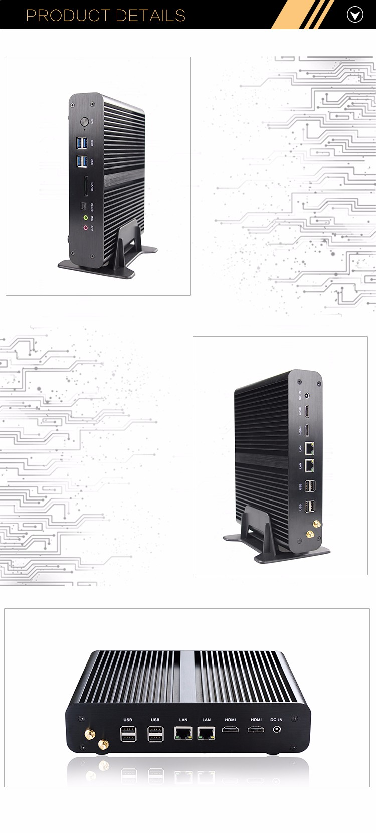 High Performance Mini PC I7 16G RAM 1TB Fanless Desktop Computer