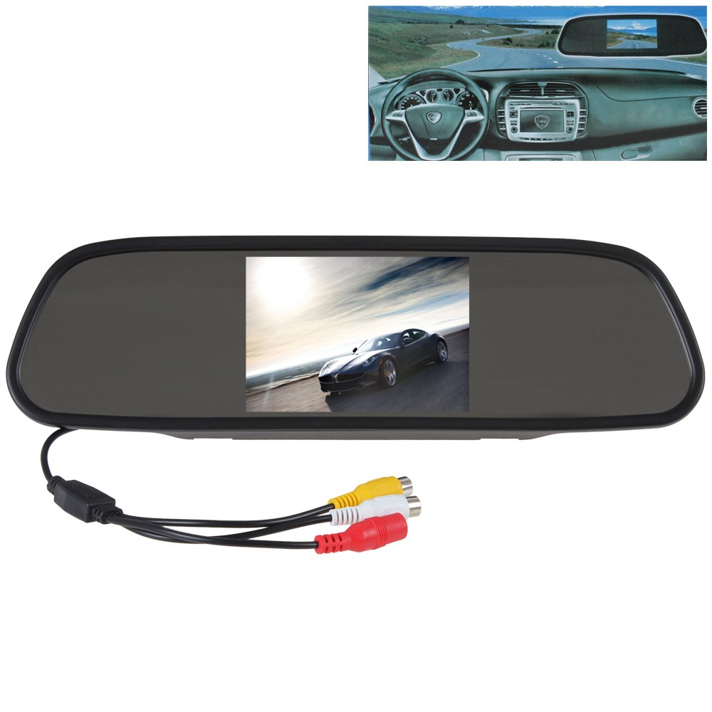 SallyBest® 5 Inch HD 16:9 TFT Color LCD Screen Wide View Angle Car Rear View Mirror Monitor Headrest in-mirror Monitor Support 2 Video Input for Parking Backup Camera DVD VCR