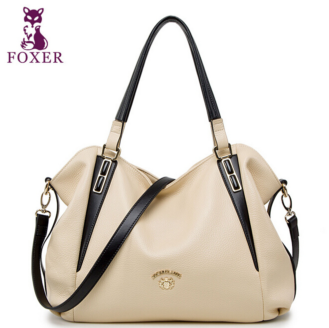 Get Quotations · FOXER Women Messenger Bags New 2015 Shoulder Bag Women  Famous Brands Genuine Leather Handbag Vintage Tote b073b34c71e99