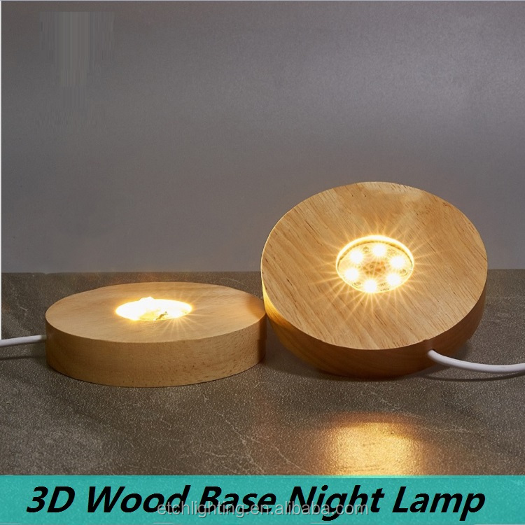 Customization USB led night lamps crafts base natural wood working solid wood base 3D print wood base lamp