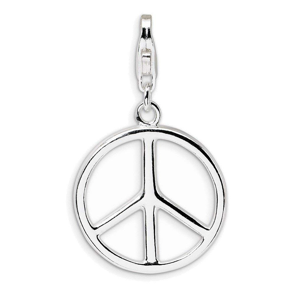Jewelry Adviser Sterling Silver Large Polished Peace Sign w/Lobster Clasp Charm