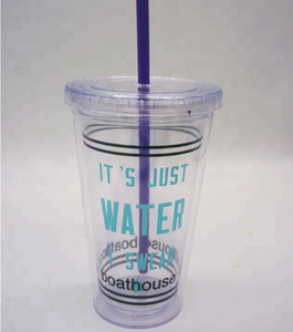 Eco-friendly 16OZ Double Wall PS Tumbler With Swirly Straw