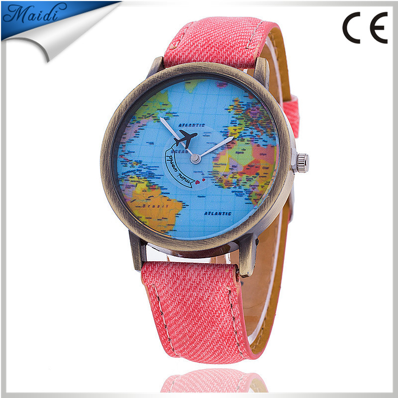 2017 Popular Vintage Little Car Bronze Jean Fabric Band Watch Quartz Analog Wrist Watches for Girls LW050
