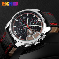new arrival china factory skmei 9106 genuine leather wrist watch japan movt watches 2016