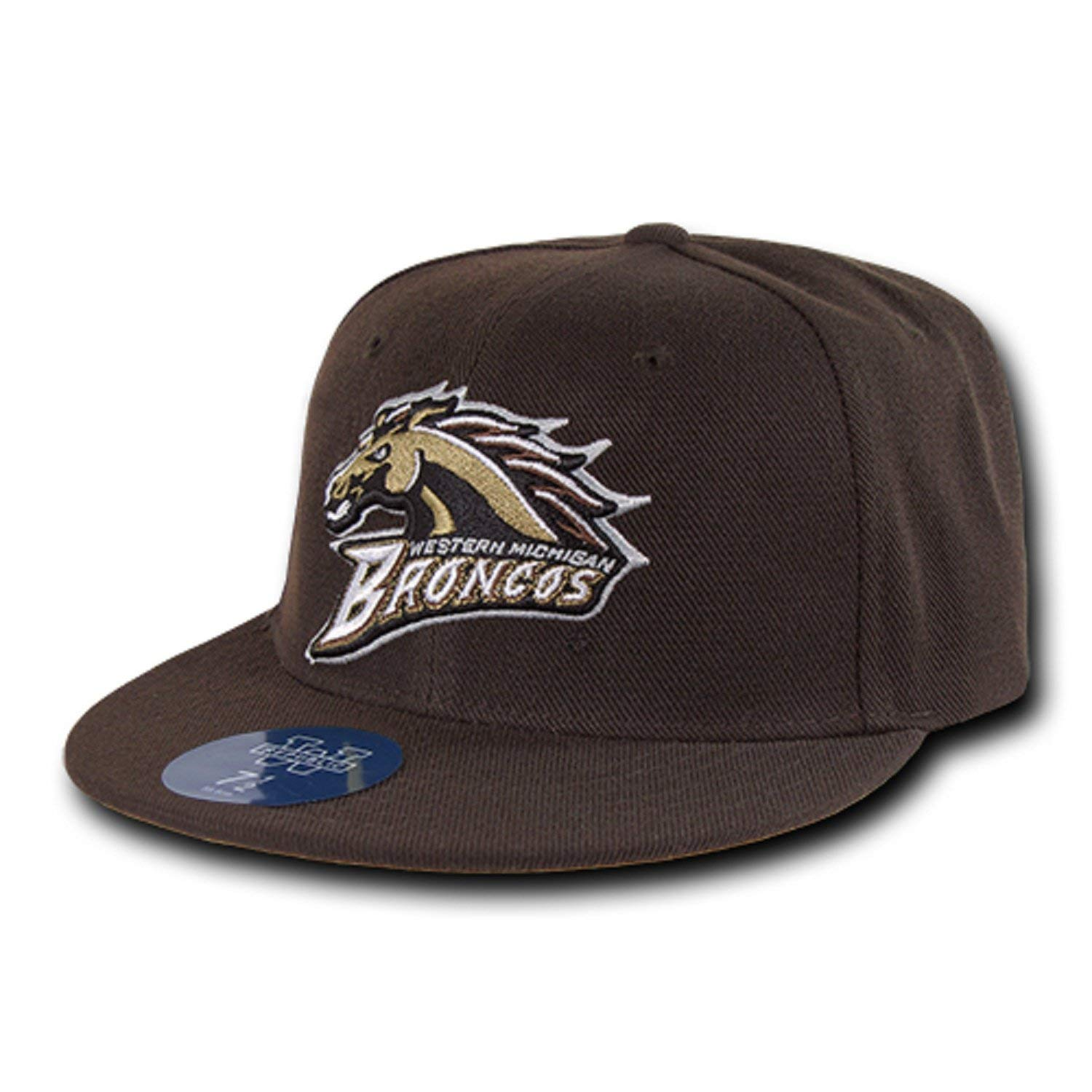 2dadb4c9c70b9 Get Quotations · University of Western Michigan WMICH Broncos NCAA Fitted  Flat Bill Baseball Cap Hat