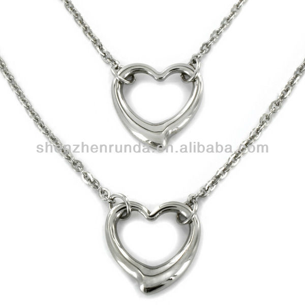 Wholesale Fashion Stainless Steel Double Strand Open Heart Necklace